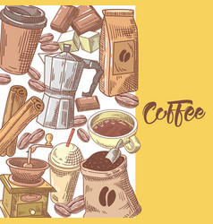 coffee hand drawn background with coffee beans vector image