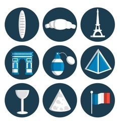 France flat icons set vector image vector image