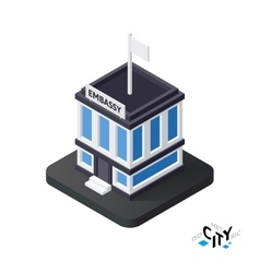 Isometric embassy icon building city infographic vector image vector image