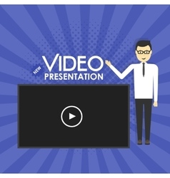Man Video Presentation concept vector image