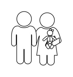 monochrome contour of pictogram with couple and vector image