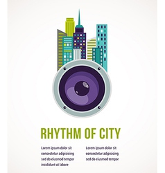 Music city - amplifier and buildings vector image vector image