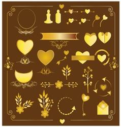 Set of wedding gold elements vector image