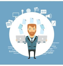 translator working with a laptop vector image vector image