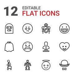 12 character icons vector