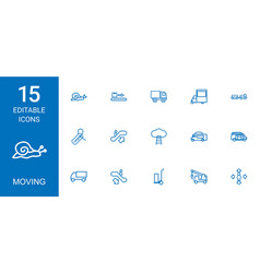 15 moving icons vector image