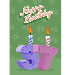 37 year Happy Birthday Card vector image