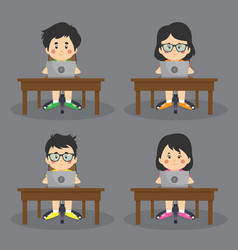 a set online kids on table vector image