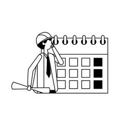 architect man calendar labor day vector image