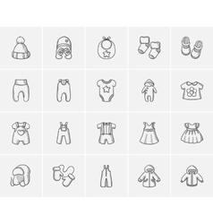 Baby clothes sketch icon set vector