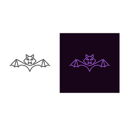 bat silhouette in outline style vector image