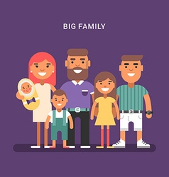 Big family 6 members parents and four children vector