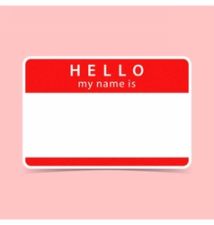 Blank red name tag sticker HELLO vector