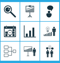 board icons set with idea discussion management vector image
