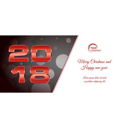 bokeh 2018 happy new year card with red text vector image