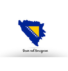 bosnia and herzegovina country flag inside map vector image