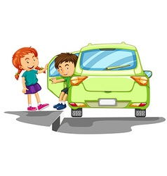 Boy getting out of green car vector image