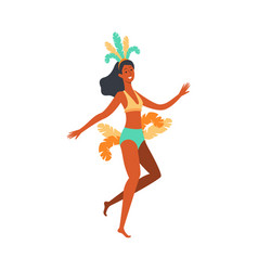 Brazil carnival dancer woman in colorful feather vector