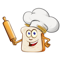 bread chef with rollin pin cartoon vector image