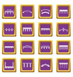 bridge set icons set purple vector image