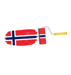 brush stroke with norway national flag isolated on vector image