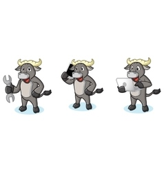 Buffalo Gray Mascot with laptop vector