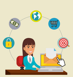 Businesswoman in the office with e-mail marketing vector
