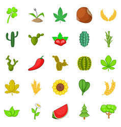 Cactus icons set cartoon style vector