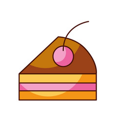 cake piece cherry bakery pastry product food fresh vector image
