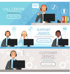 Call center banners support agents characters vector