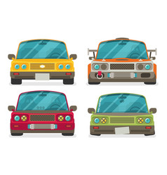 Car front view race car tuning set colorful of vector