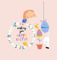 cartoon easter with girl rabbit and vector image
