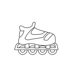 Cartoon roller skate sport equipment outline vector