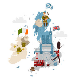 Cartoon united kingdom map with national vector