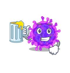 Cheerful alpha coronavirus with a glass beer vector