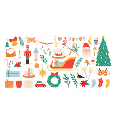 christmas cartoon decorations and toys new year vector image