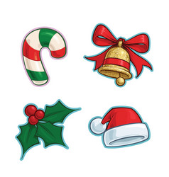 Christmas cartoon icon set candy cane bell vector