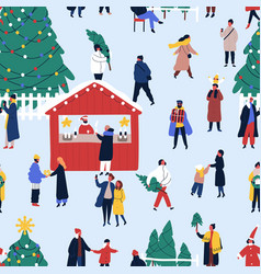 christmas fair flat seamless pattern vector image