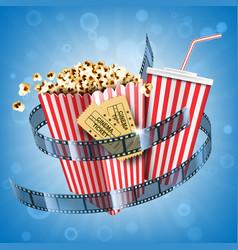 cinema popcorn soda drink tickets and film strip vector image