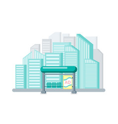 city with high skyscrapers and bus stop isolated vector image