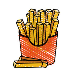 Color crayon stripe cartoon box with french fries vector