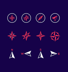 Compass icons on purple background vector