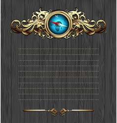 Compass with ornate frame vector