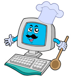 Computer chef with spoon vector
