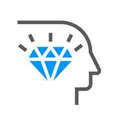 corporate management line icon diamond mind vector image