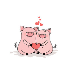 Couple of pigs in lovetwo cute animals with heart vector