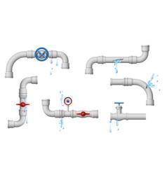 Damaged leaky pipes water pipe leaks broken vector
