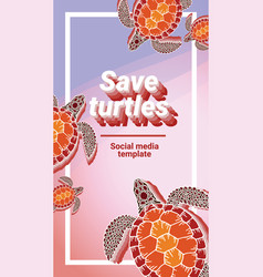 Decorative graphic social media template turtle vector