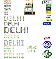Delhi text design set vector
