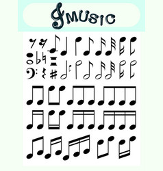 Different music notes on poster vector
